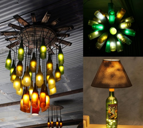 recycled bottles as chandeliers and lamps empty glass bottles can make awesome chandeliers a single bottle can even make a unique lamp egg carton lights amazing lighting